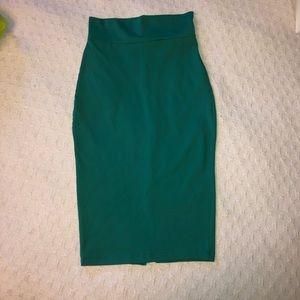 High waisted stretchy midi skirt